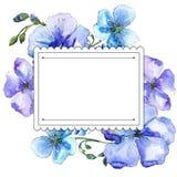 Голубой цветок льна Флористический ботанический цветок Квадрат орнамента границы рамки Стоковая Фотография