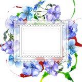 Голубой цветок льна Флористический ботанический цветок Квадрат орнамента границы рамки Стоковое Изображение