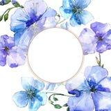 Голубой цветок льна Флористический ботанический цветок Квадрат орнамента границы рамки Стоковое Изображение RF
