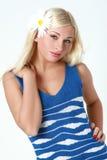 голубой чулок девушки платья Стоковое фото RF