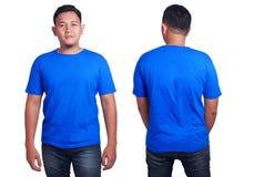 Голубой шаблон модель-макета рубашки Стоковые Изображения RF