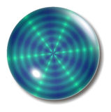 голубой шар зеленого цвета кнопки Стоковая Фотография