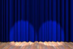 голубой этап занавеса Стоковые Фотографии RF