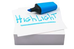 голубой highlighter Стоковые Фотографии RF