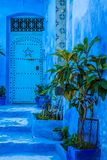 Голубой medina Chechaouen, Марокко Стоковые Изображения RF
