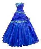 голубой organza вечера платья над белизной Стоковые Изображения