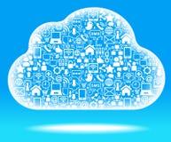 голубой social сети облака Стоковые Изображения RF