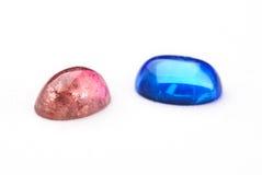 голубой tourmaline красного цвета драгоценностей Стоковые Изображения RF