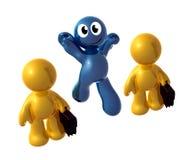 Голубо меньшяя смешная икона скача вне толпа Стоковые Изображения RF