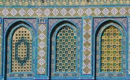 Голубые арабские плитки мозаики и детали на куполе утеса, Temple Mount, Иерусалим Израиль стоковые фото