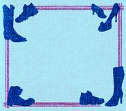 голубые ботинки пинка рамки Стоковое фото RF