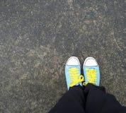 голубые ботинки холстины Стоковое Изображение