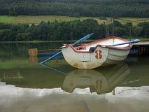 голубые весла шлюпки Стоковое Изображение RF