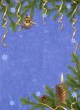 голубые ветви миражируют праздник карточки Стоковое фото RF