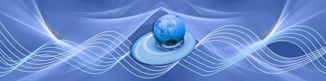 голубые волны глобуса иллюстрация вектора
