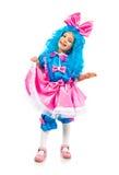 голубые волосы девушки немногая Стоковое фото RF