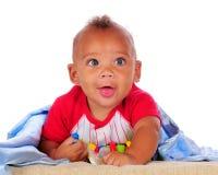 голубые глазы младенца большие biracial стоковая фотография