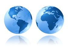 голубые глобусы лоснистые Стоковые Фотографии RF