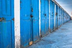 Голубые двери в essaouira, Марокко Стоковые Фото