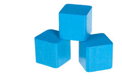Голубые деревянные кубики стоковое изображение