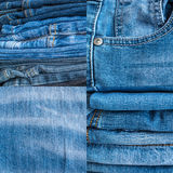 Голубые джинсы и текстура стежками Стоковые Фото