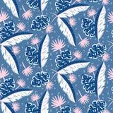 Голубые джунгли выходят картина для печатей лета безшовных Стоковые Фотографии RF