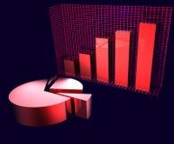 голубые диаграммы над красным цветом Стоковое Изображение RF