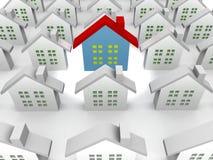 голубые дома выдающие иллюстрация вектора
