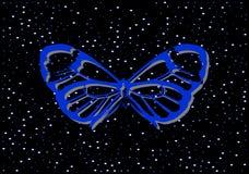 Голубые драгоценные металлы бабочки на черной предпосылке с жемчугами бесплатная иллюстрация