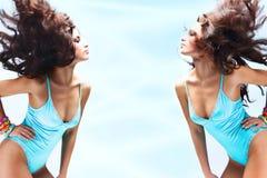 голубые женщины нижнего белья Стоковое Изображение