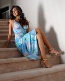 голубые женщины платья 3 Стоковое фото RF