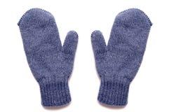 Голубые изолированные mittens, стоковые фотографии rf