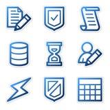 голубые иконы базы данных контура иллюстрация штока