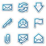 голубые иконы контура e пересылают сеть стикера серии Стоковые Изображения RF