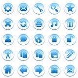 голубые иконы круглые Стоковая Фотография RF