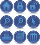 голубые иконы установили сеть Стоковые Изображения