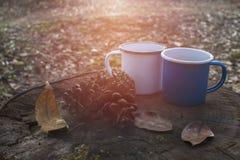 Голубые и белые чашки кофе на журнале Стоковое фото RF