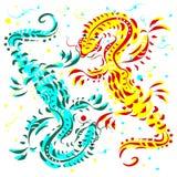 Голубые и желтые ящерицы на белой предпосылке Стоковая Фотография
