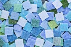 Голубые и зеленые плитки мозаики Стоковые Фото