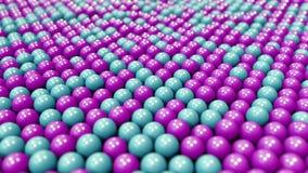 Голубые и пурпурные пластиковые шарики, loopable предпосылка движения иллюстрация штока