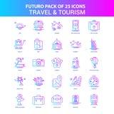 25 голубые и розовые перемещение Futuro и пакет значка туризма бесплатная иллюстрация