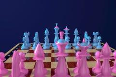 Голубые и розовые шахматные фигуры стоят на исходных позициях на классической доске background card congratulation invitation Взг иллюстрация штока