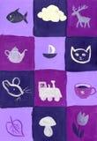 голубые квадраты лиловые Стоковые Изображения