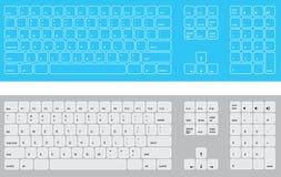 голубые клавиатуры белые Стоковая Фотография RF