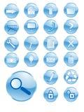 голубые кнопки глянцеватые Стоковые Фотографии RF