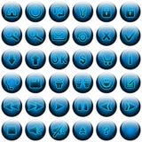 голубые кнопки установили сеть Стоковое Изображение RF