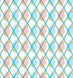Голубые кривые резюмируют декоративную предпосылку, безшовную, вектор Стоковая Фотография