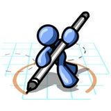 голубые круги рисуя человека Стоковое фото RF