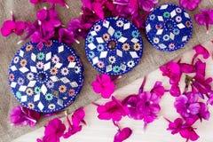 Голубые круглые коробки стоковые фотографии rf