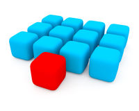 голубые кубики красные Стоковое Фото